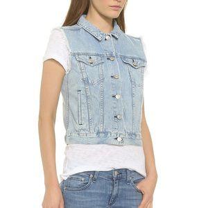 RAG & BONE Distressed Denim Jean Bleachout Vest